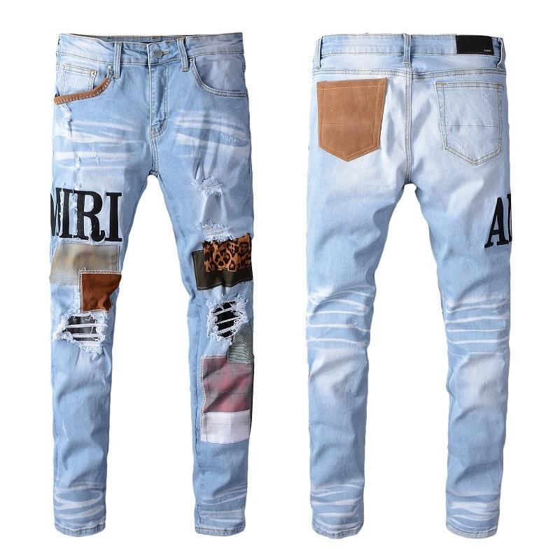 Jeans Para Hombre ajustada Biker Stretch Denim Skinny Reino Unido diseñador Deshilachado Pantalones De Moto