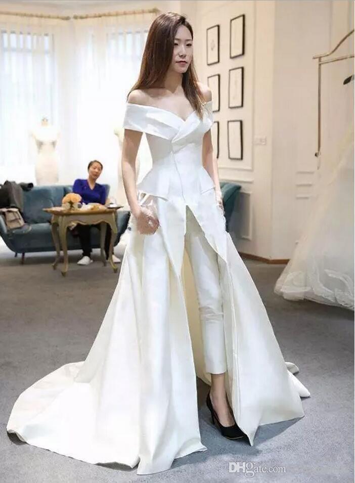 Discount New Designer Bridal Jumpsuits Satin With Pants Wedding Dresses Overskirt Off The Shoulder Vestido De Novia 2018 Formal Guest Dress Wedding