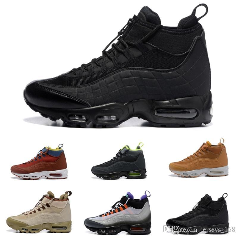 New Fashion Cushion Boots Black Green Brown Men's Ankle Boots Hight Top 95s Waterproof Work Boots Men Shoes High quality
