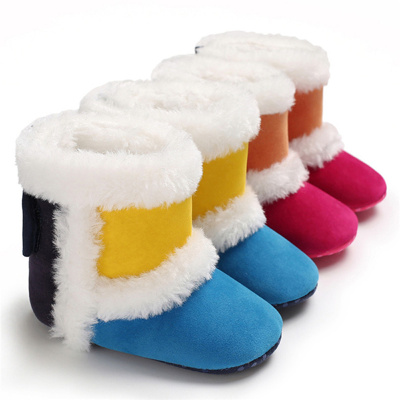 1 Pair Baby Girl Boots Baby Girl Splicing Soft Sole Snow Boots Soft Crib Warm Shoes Toddler winter Boots bota infantil D10 (6)