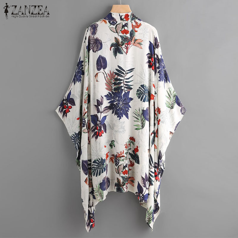 2019 Zanzea donne manica a pipistrello camicetta estate femminile stampa kimono casual coprono le camicie spiaggia cardigan blusas plus size j190618