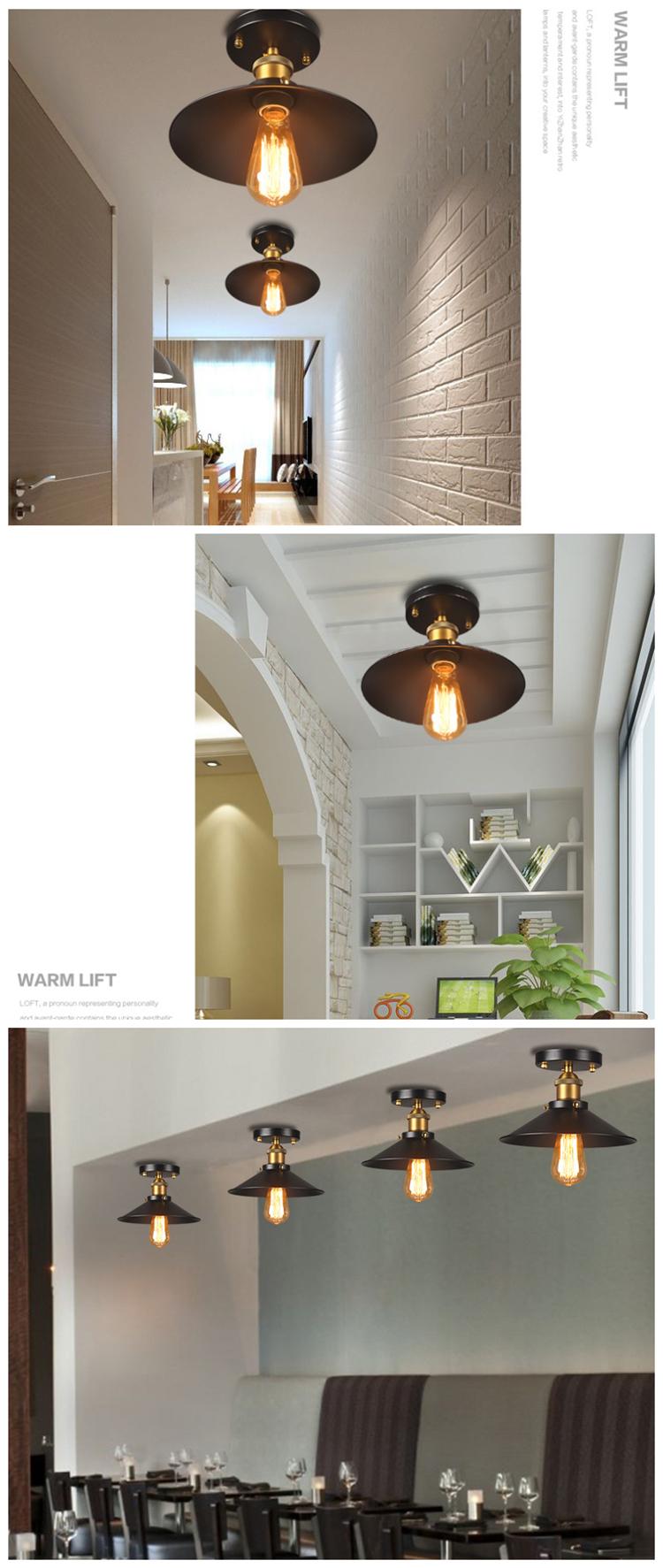 Loft Balcony Lamps Black Vintage Industrial Iron Ceiling Light