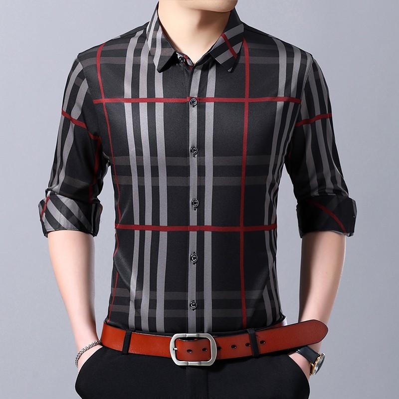 Vska Mens Spring//Fall Buttoned Long Sleeve Bussiness Casual 3D Longshirt