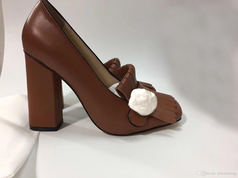 2019authentic Rindsleder Designer High Heels im Frühjahr und Herbst Sexy Bar Bankett Hochzeit Shoes10cm Dicke Ferse Schiff Schuhe mit Metallschnalle