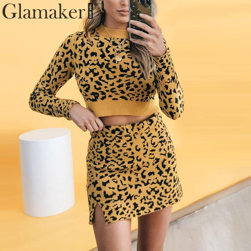 wholesale Leopard sweaters female Autumn winter yellow knitted pullover jumper Ladies casual streetwear pull femme 2019
