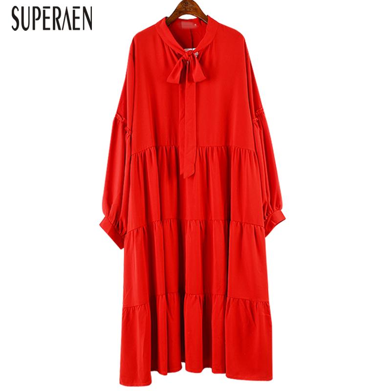 SuperAen Korean Style Pluz Size Fashion Dress Female Autumn New 2018 Bow Long Sleeves Ladies Chiffon Dress Solid Color Dresses T190610
