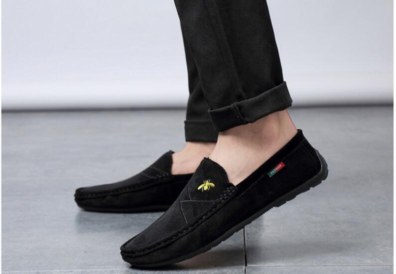 Rétro Hommes Gommino Mocassins en Cuir Véritable à Enfiler Pompons confort de conduite chaussures