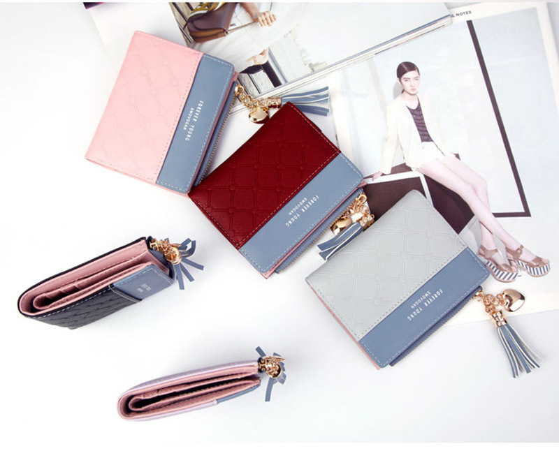 Women Wallet Female Short Paragraph Coin Purse Color Wallet Women Small Fold Wallets Tassel Zipper Button Bag Credit Card Holder (22)