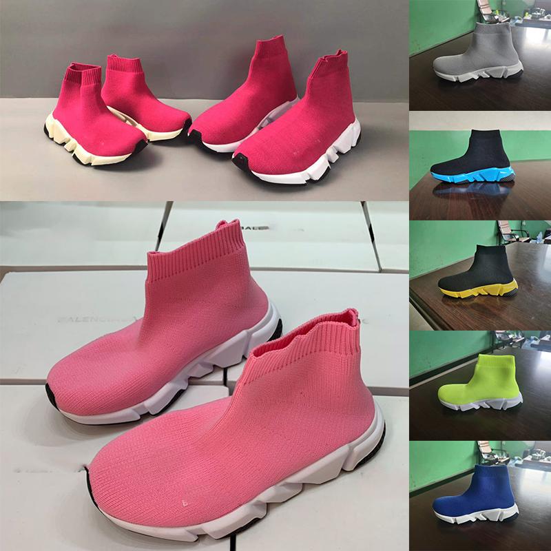 Wholesale Kids Luxury shoes triple s big Kid Designer sneakers paris triple S children Breathable Stretch Fabric running sock shoe for boy