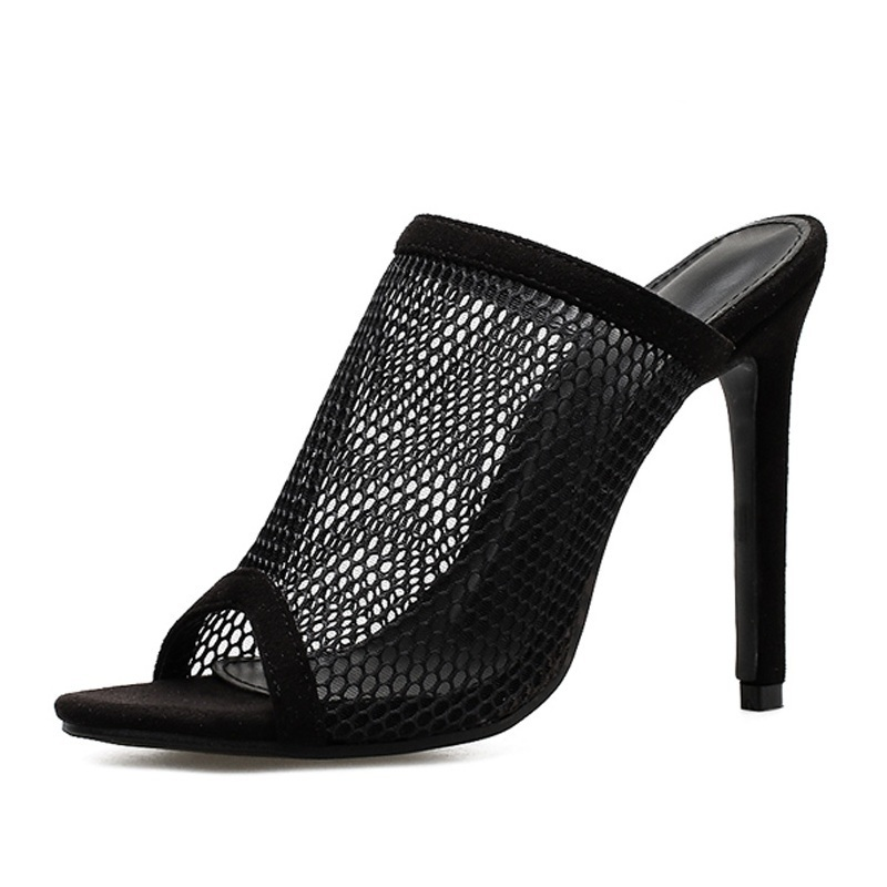 New Summer Women Shoes High Heels Peep Toe Sandals Slippers Sexy Black Mesh Hollow Out Stiletto Ladies Slides Zapatos Mujer
