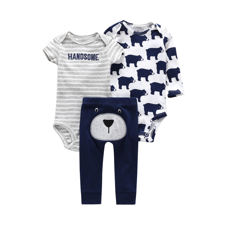 2018 newborn set 3 piece clothing set for 6-24 month baby boy girl cotton cartoon bodysuit+romper+pant bear animal baby outfits