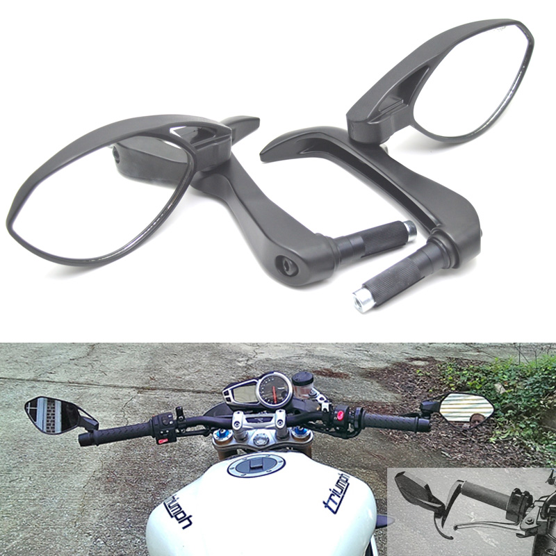 vista posteriore della moto con fanali retrovisori laterali universali 1 paio di specchietti retrovisori da 22 mm per motocicletta