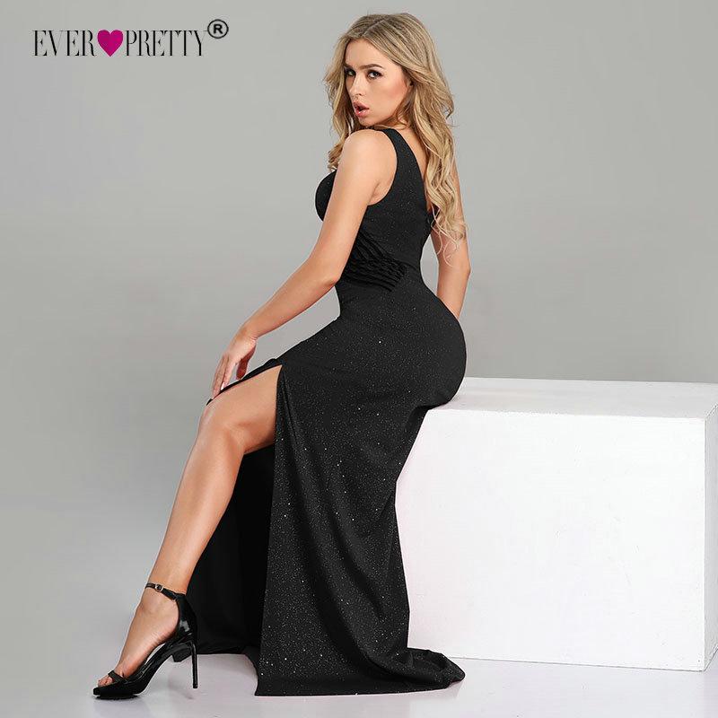 Sexy Prom Dresses Long Ever Pretty Ep07780 Nuovo arrivo senza maniche Leg Slittata Sirena Black Sparkle Robe De Soiree Y19042701