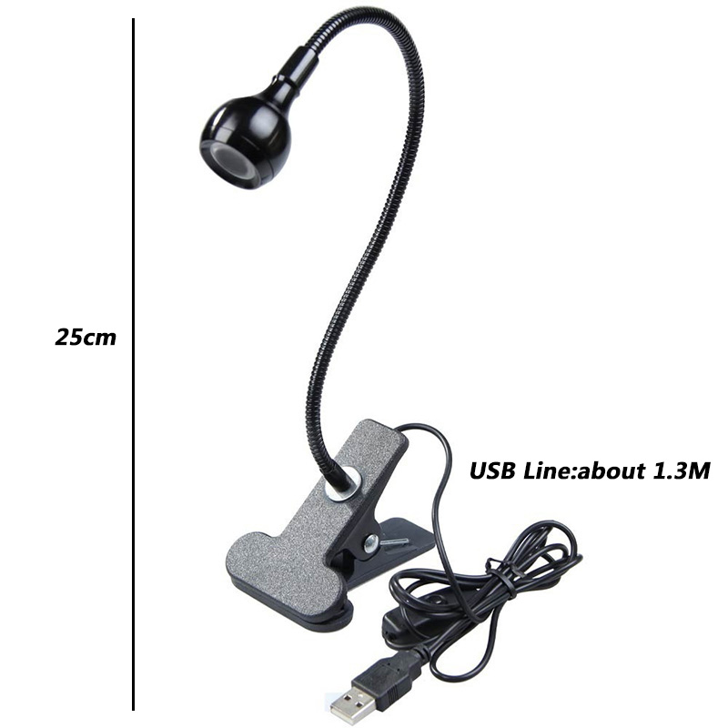 Portable Flexible USB Lamp Reading Lamps Clip-on Book Light Table Lamps Work Lights Warm White For Notebook Desktop Office Desk