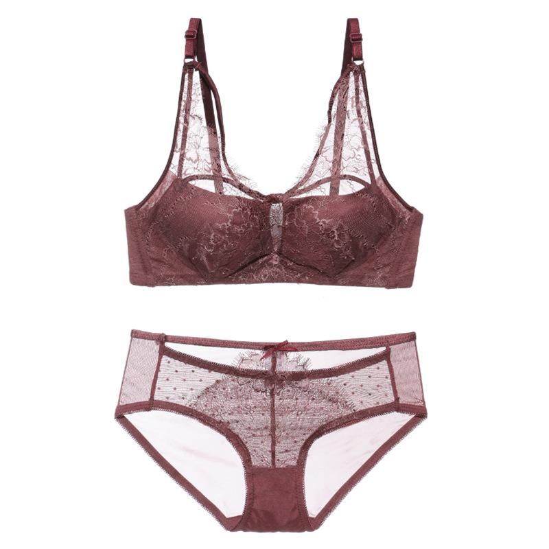 Womens Padding No Rims Full Coverage Lace Cotton Gather Underwear Bra Plus qiuan