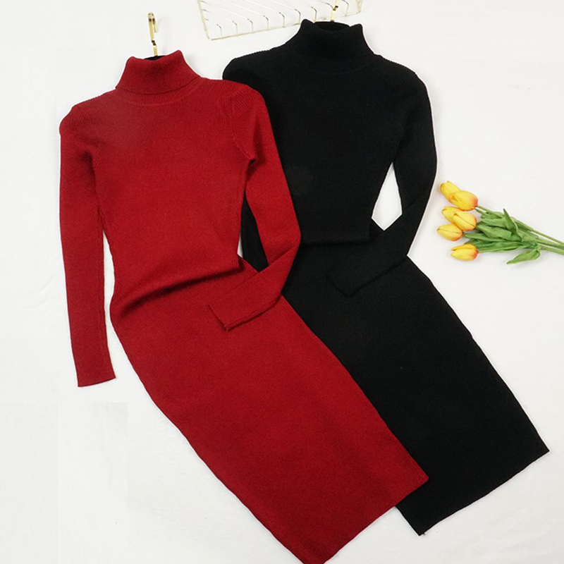 Winter Turtleneck Sweater Dresses Women Loose Thick Long Knitted Dress Long Sleeve Bottoming Dress