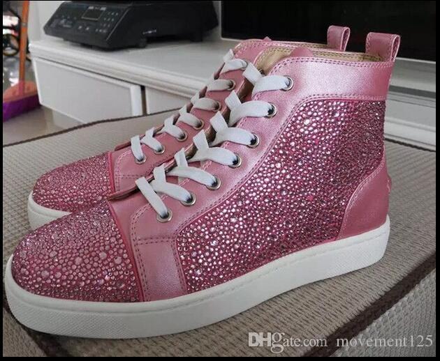 Bas rouge pour les hommes et les femmes en cuir Chaussures de sport Parti Chaussures Hommes DESIGNER Suede cristaux Baskets Top Spikes Chaussures