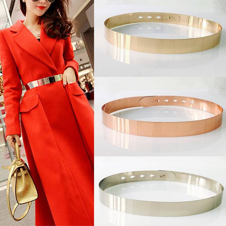 Ladies Silver Oro Metallizzato Obi cintura addominale fascia regolabile per Da donna Fashions
