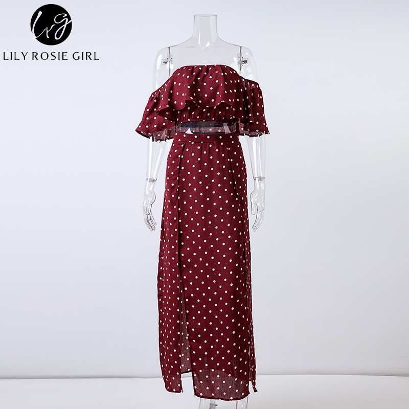 Lily Rosie Girl Women 2018 Off Shoulder Red Vintage Dot Long Dress Summer Maxi Dress Chiffon Ruffle Sexy Beach Dresses Vestidos D19010501