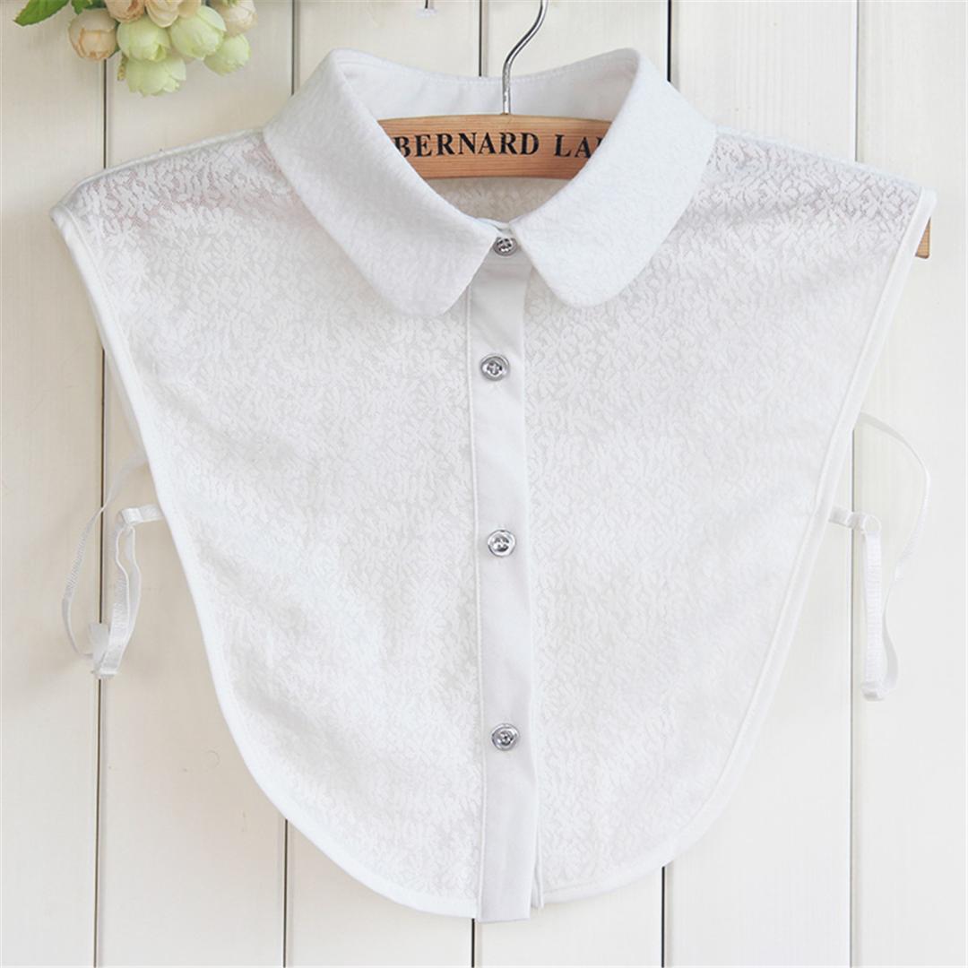 Erisl Women Pure Color Lace Detachable Lapel Choker Necklace Shirt Fake False Collar