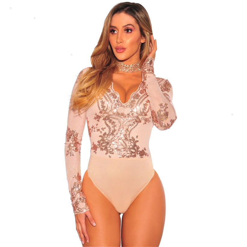 IDress Sexy Bodysuit Women Long Sleeve Mesh Bodysuit Beachwear Top V Neck Lace Sequined Bodysuit Rompers Women's Jumpsuit (4)