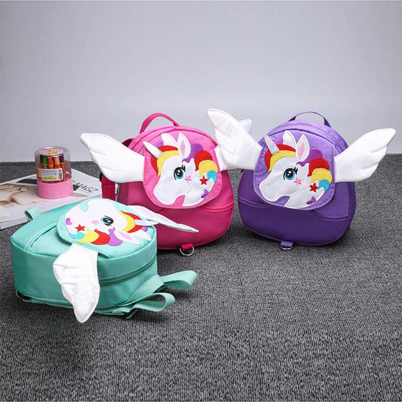 Cute Cartoon enfants Sac à dos 3D licorne ailes enfant Sacs école Belle réglable anti-perte bébé Sacs à dos enfants garçon cadeaux fille