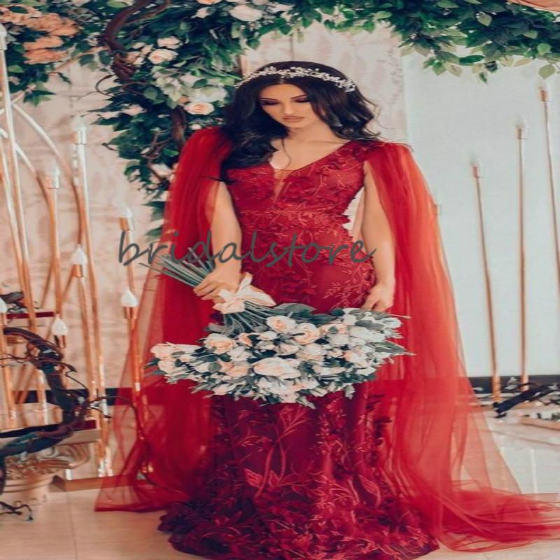 Caftan Dubai Wedding Dresses Red Mermaid Lace Boho Wedding Dress