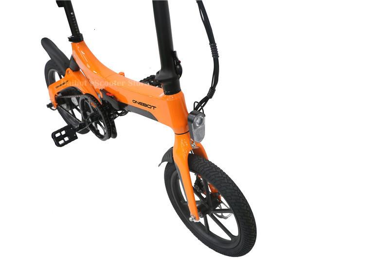 Portable Electric Scooter 250W 36V Two Wheel Electric Bicycle 16'' WhiteBlackOrange Foldable E Bike Max Range 50KM (6)