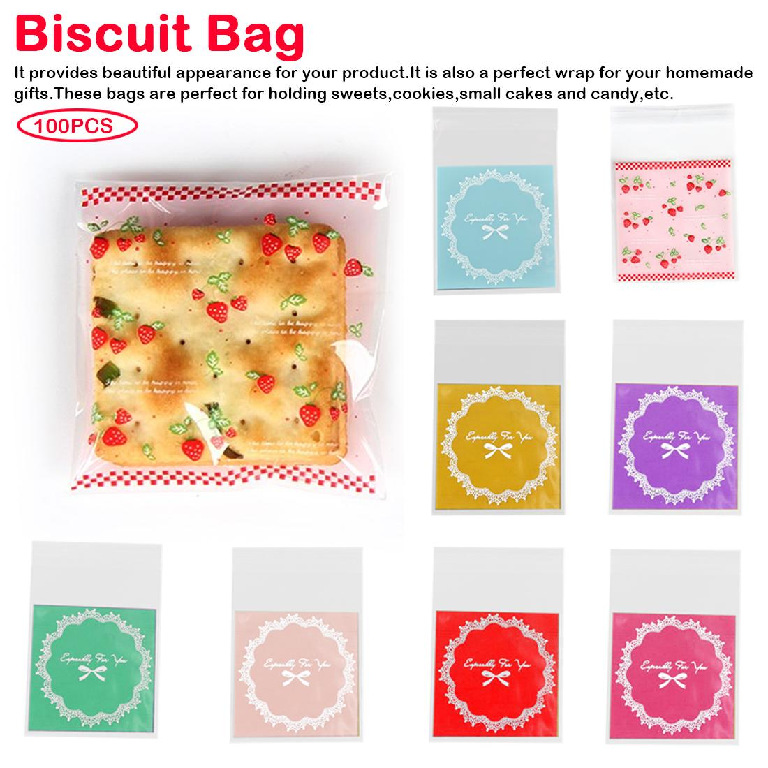 100X Adhesive Heart Floral Plastic Biscuit Candy Package Cellophane Gift Bag GA