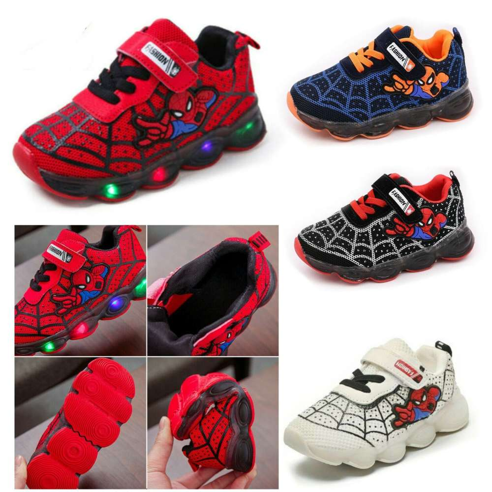 Boys Girls Spiderman LED Trainers Shoes Flashing Light Up Sports Sneaker Glowing