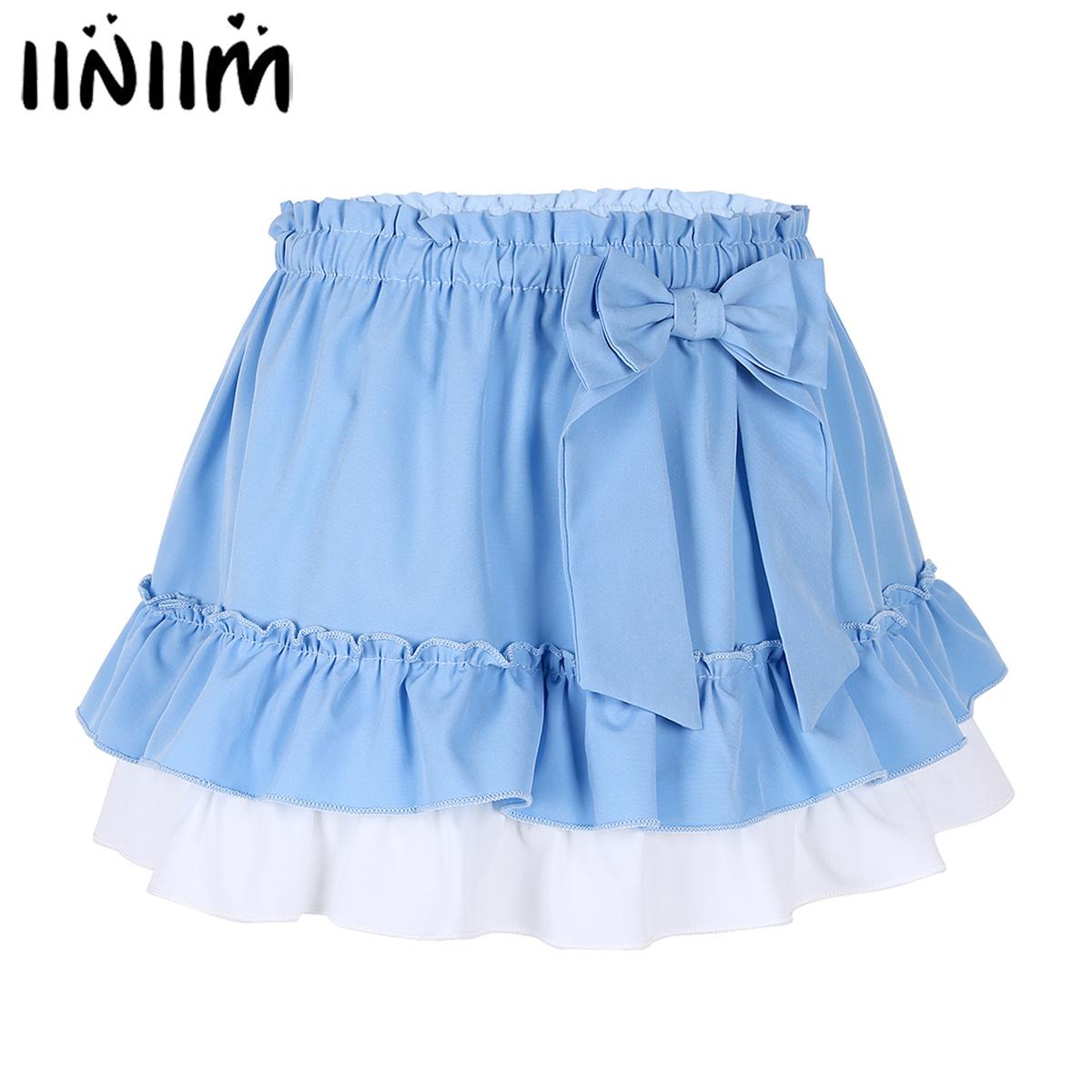 Women Mens Adult Sissy Skirt Pleated Gingham A-line Short Mini Dress Clubwear