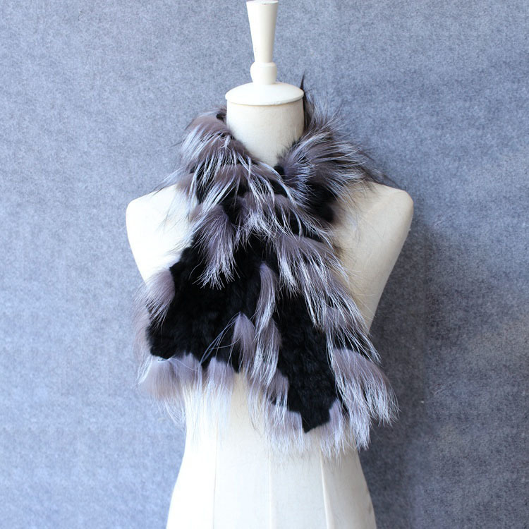 natural rex rabbit fur scarf silver fox fur (2)
