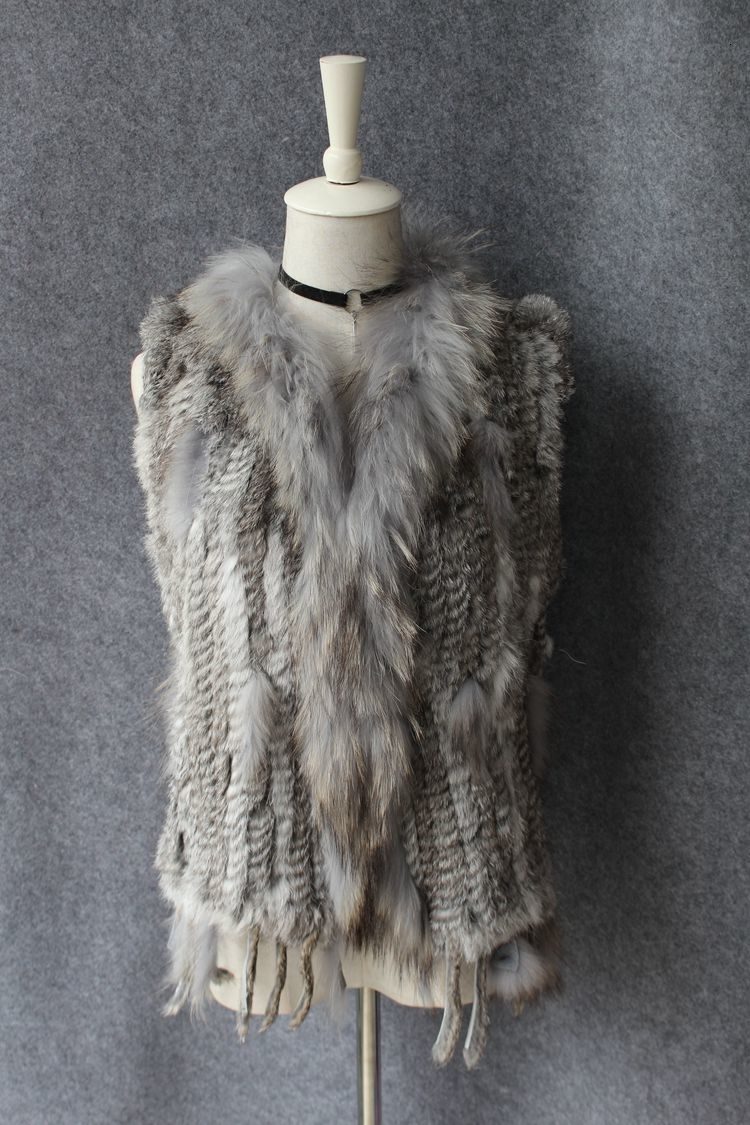 genuine real rabbit fur vest with raccoon fur collar (21)