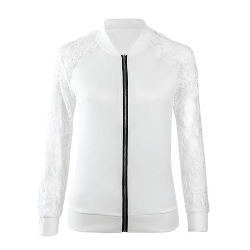 Lace Sleeve Women Basic Coats Long Sleeve Lace Patchwork Transparent Zipper Casual Slim Jacket Coat Bomber Jacket Outwear 40OC3112