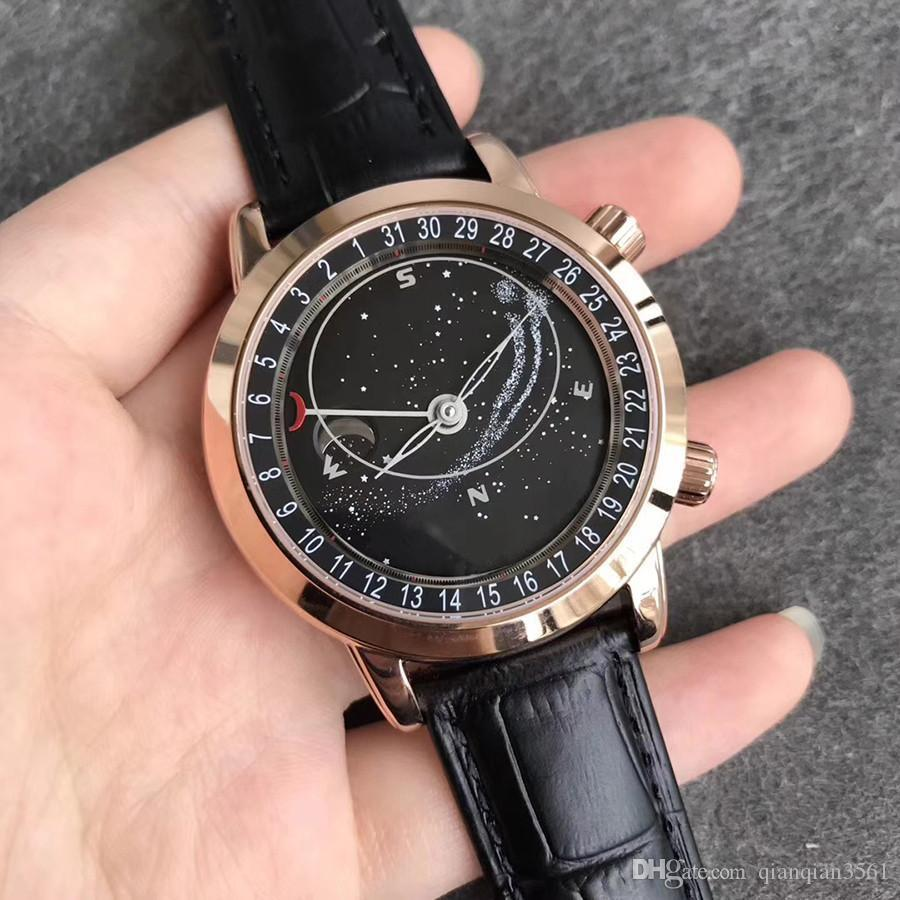Luxury Brand Complex Function Chronograph Watch Series 6102r-001 Automatic Mechanical Stainless Steel Case Leathe Watch With Box