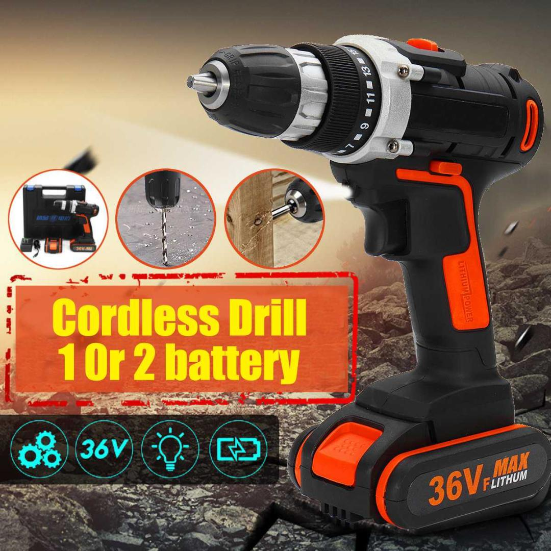 36VF Electric Cordless Impact Wrench LED Torque Drill Tool 6000mAh Spare Battery