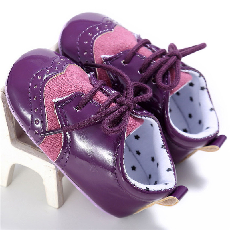 4 Color Baby Girls Shoes Fashion Newborn Infant Baby Girls Solid Lace-Up Shoes Soft Sole Anti-slip Sneakers First Walker M8Y04 (23)