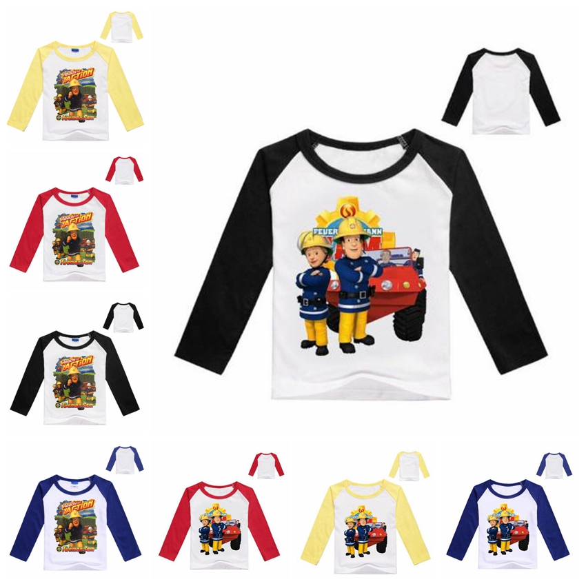 Firefighter Hero Childrens Long Sleeve T-Shirt Boys Cotton Tee Tops