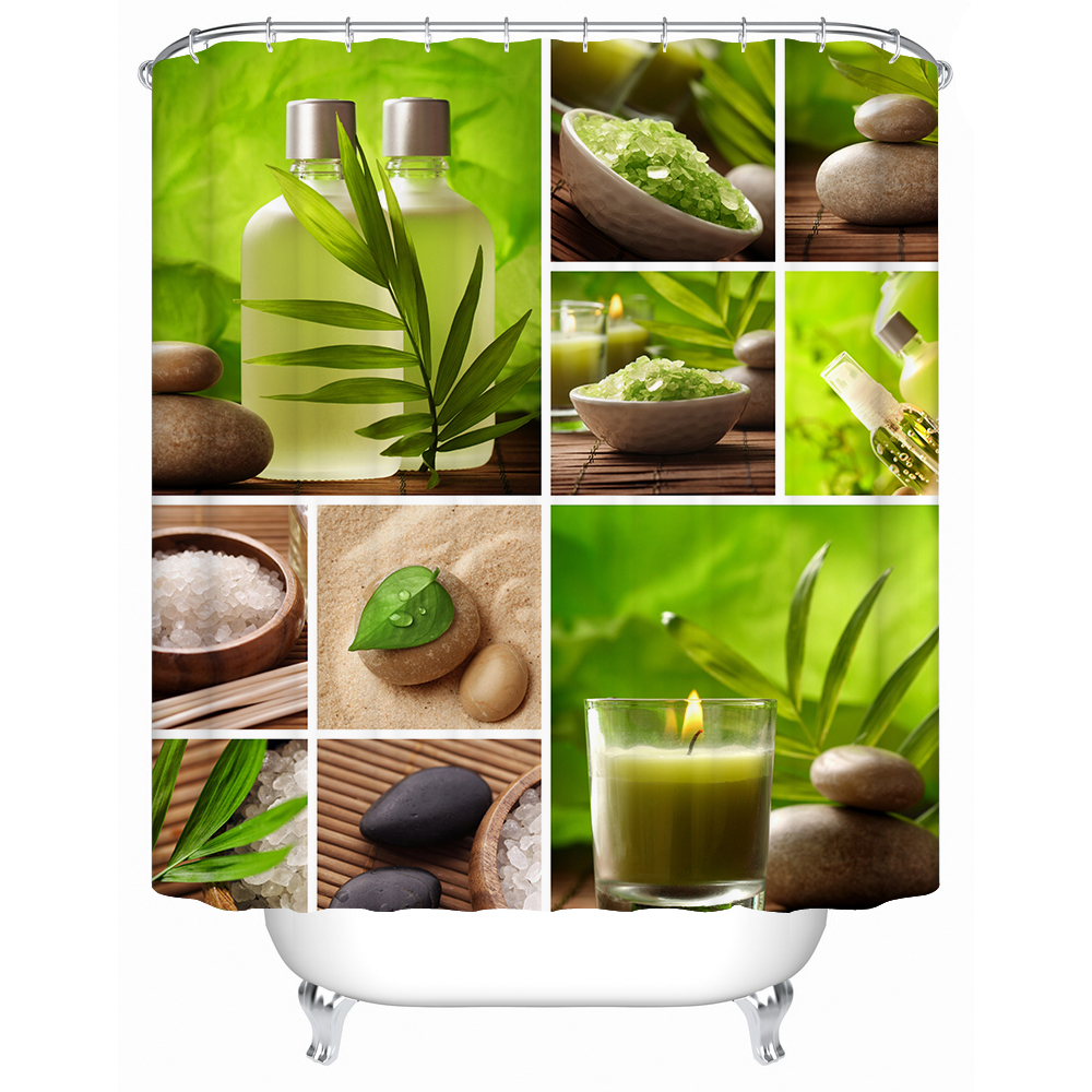 2017 New Zen Shower Curtain Stone Flower Green Bamboo Bathroom Decor 3d Fabric Printing Accessory With 12 Rings y1068 C18112201