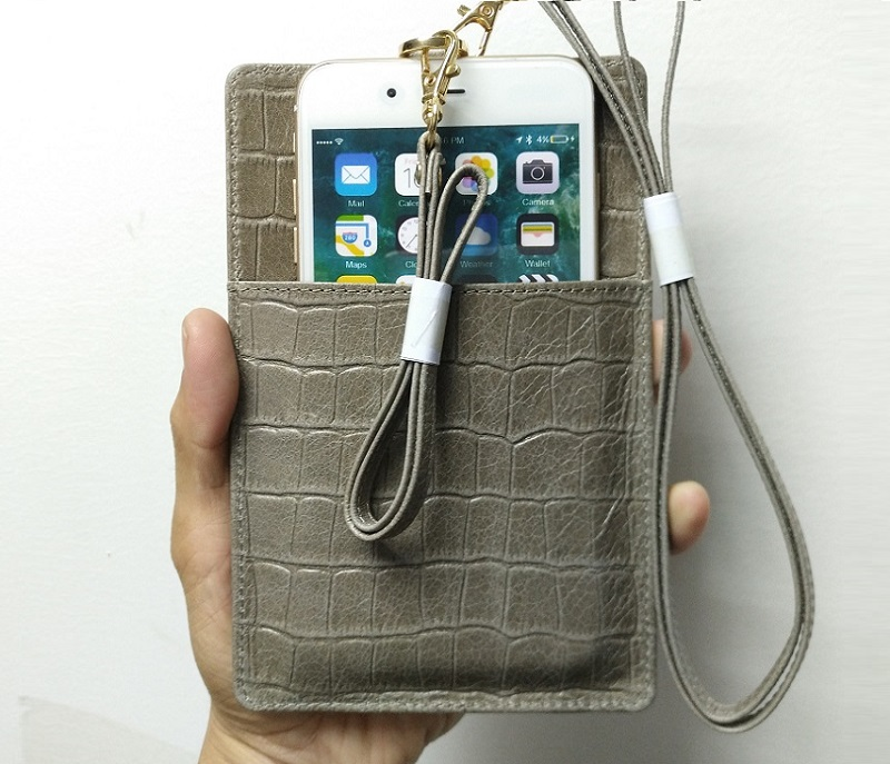 gray leather strap card holder pouch phone case for iPhone x xs max xr luxury cover