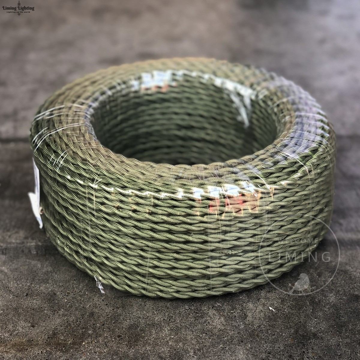ArmyGreen 100M Meter 2*0.75mm Vintage Twisted Electrical Wire Textile Cable Edison Lamp Cord Braided Retro Pendant Light Lamp