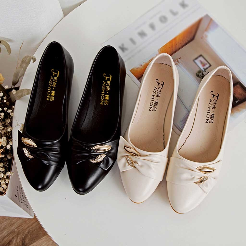 Designer Dress Shoes Muqgew New Fashion Women Low Heels Casual Bow Peas Ankle Single Leather Moccasins Slip-on Driving Footwear