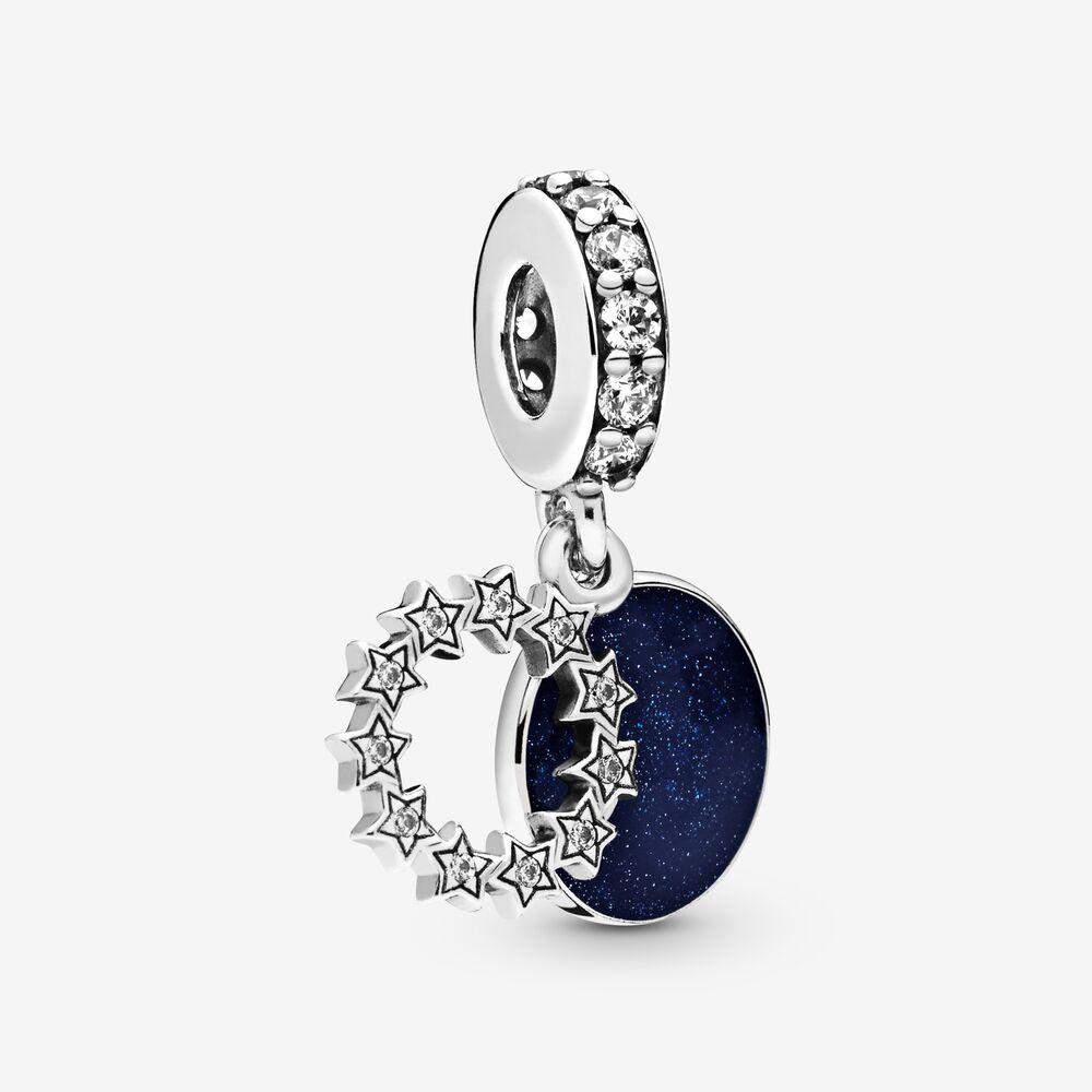 925 Sterling Silver He Loves Me Charm Hawthorn Black Flower CZ European Bead