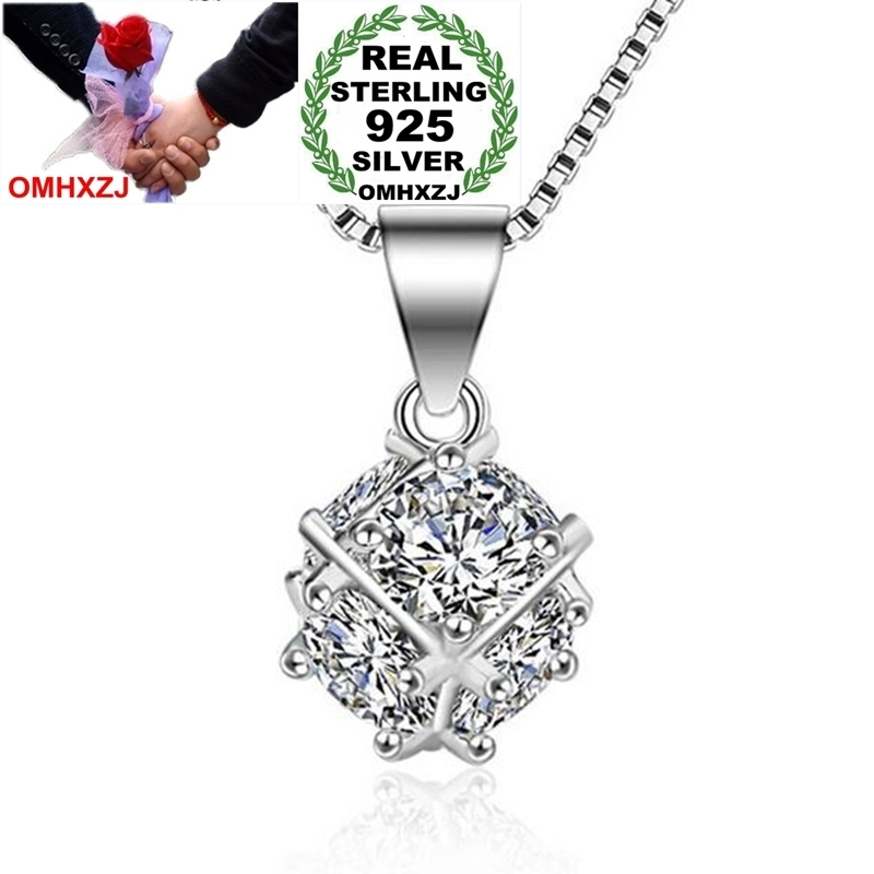 OMHXZJ Wholesale Fashion Love Window Sugar Cube For Woman Gift Zircon 925 Sterling Silver Pendant Charms PE136 NO Chain Necklace
