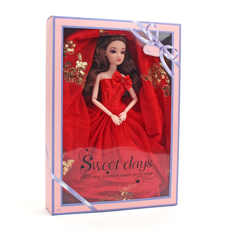 Barbie Doll Will Red Bone Rope Will Wedding Dress Suit Gift Box A Doll Clothes Girl House Toys