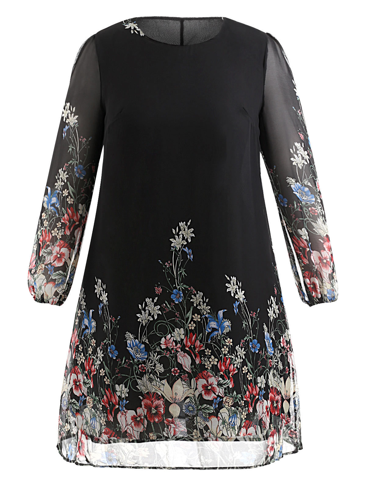 Wipalo Multi Color Plus Size Floral Embroidery Tunica Dress Spring Elegant Tribal Flower Printing Occupation Dress Vestidos Y19071001