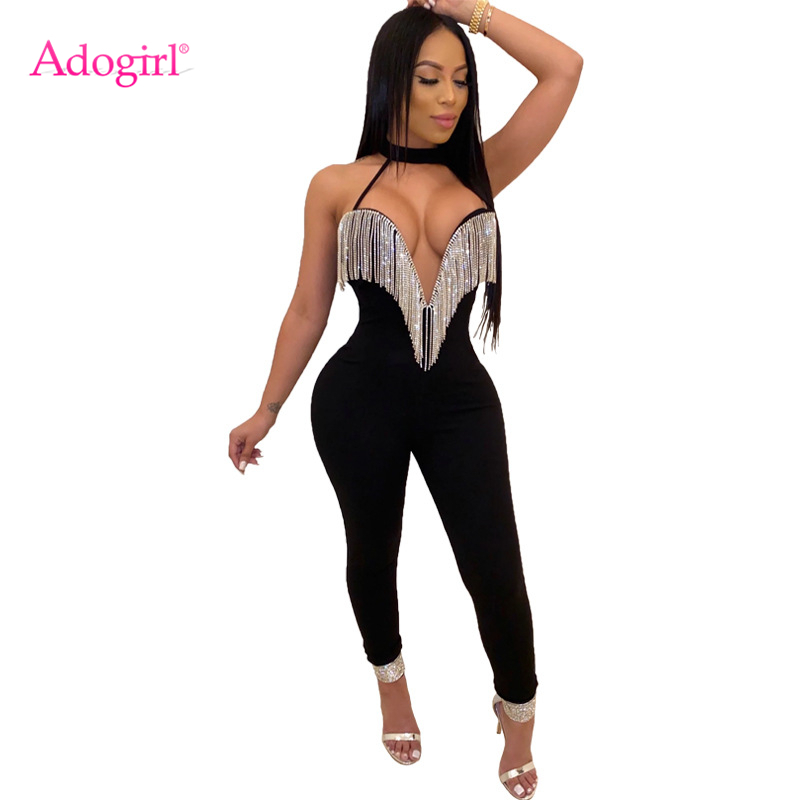 Women Glossy Shiny Jumpsuit See Through Sheer Chest Hollow Hanging Neck Bodysuit