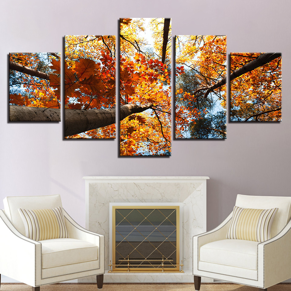 Wall Art Canvas Painting Yellow Leaves Autumn Scenery Picture Modular HD Prints Poster For Living Room Frame Home Decor