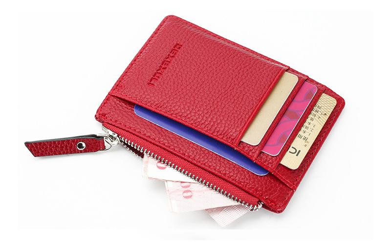Men/women Mini Id Card Holders Business Credit Card Holder Pu Leather Slim Bank Card Case Organizer Wallet Zipper Unisex