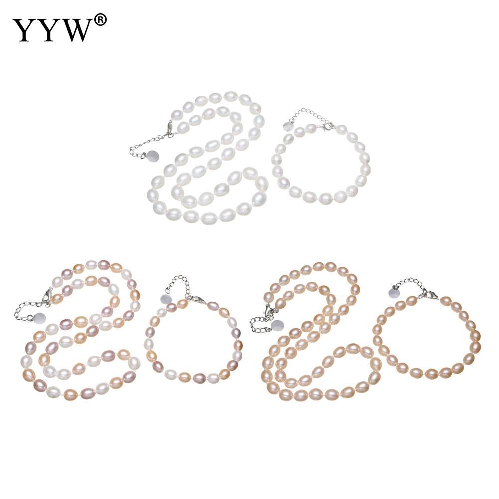 2018 Naturel De Culture Perle D'eau Douce Bijoux Ensembles Bracelet Collier Riz En Forme Charm Homard Fermoir Bracelet Collier